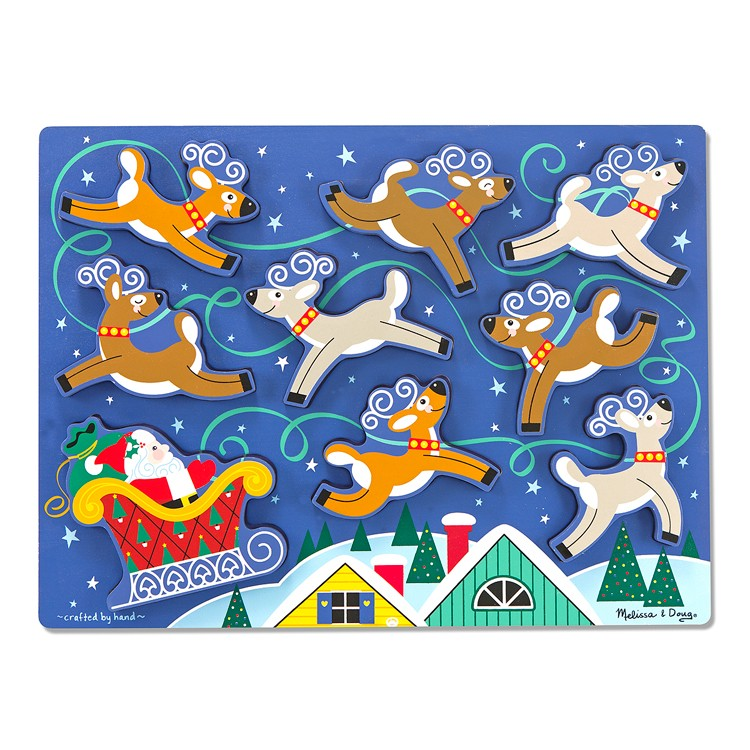 Santa & Reindeer Christmas Chunky Puzzle for Toddlers ...