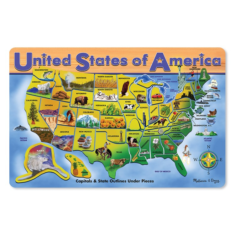 Usa Map Large Wooden Puzzle Educational Toys Pla