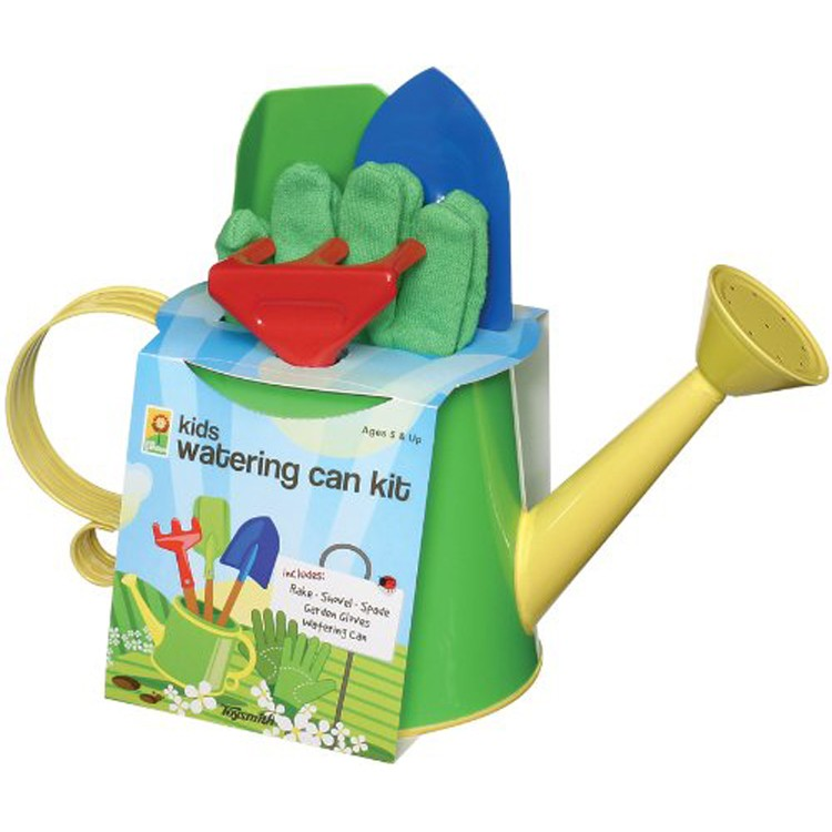 Kids Gardening Tools And Watering Can Set.