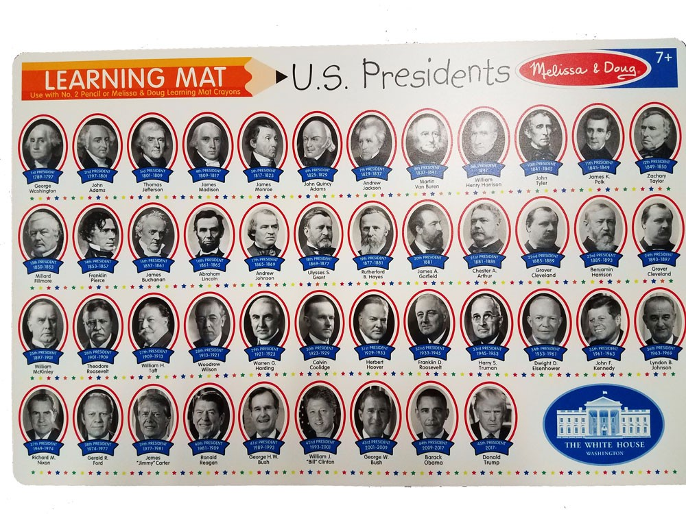 Presidents Write On Learning Placemat Educational Toys