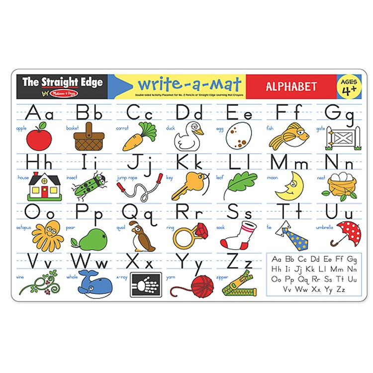 Alphabet Double Sided Learning Write On Placemat