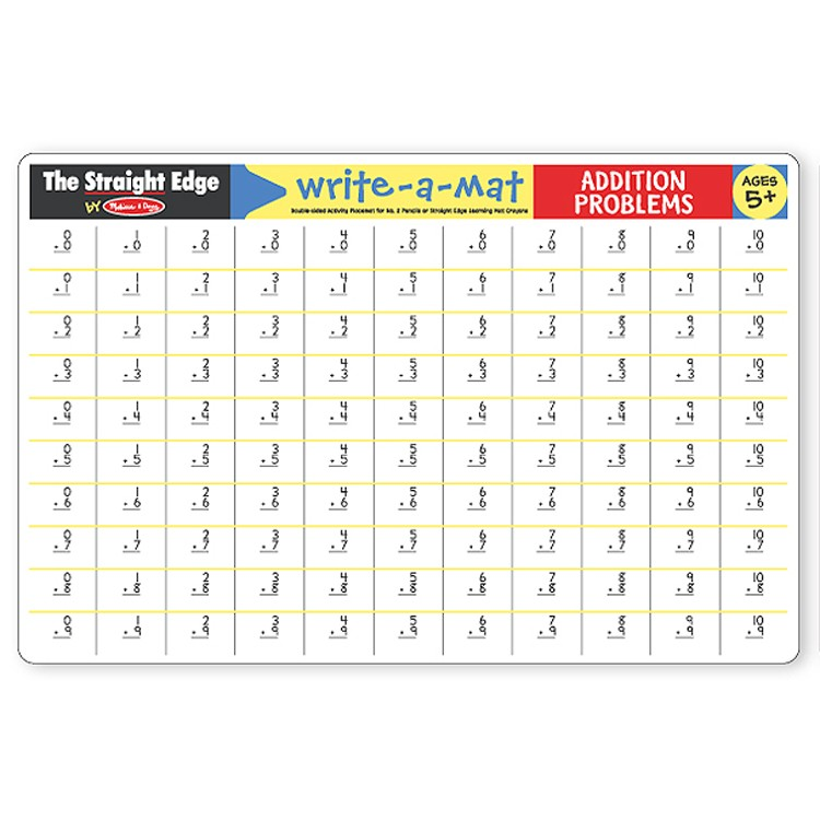 Addition Write On Learning Placemat Educational Toys Planet