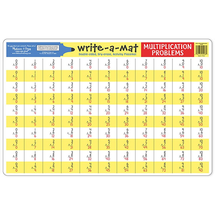 Multiplication Write On Learning Placemat Educational