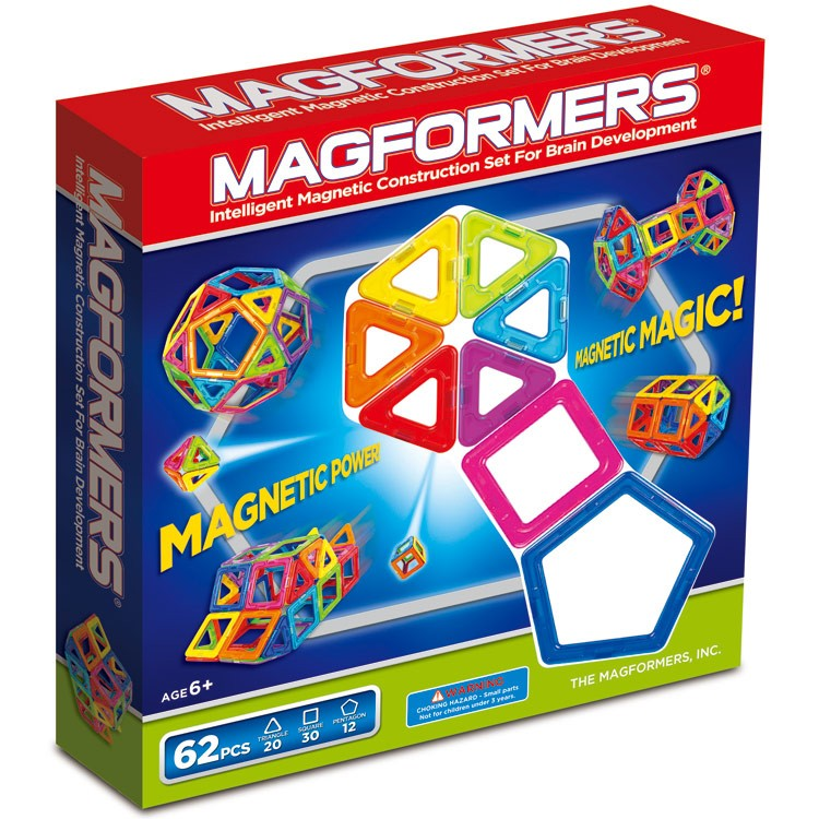 magformers 62 pc magnetic construction toy educational toys planet. Black Bedroom Furniture Sets. Home Design Ideas