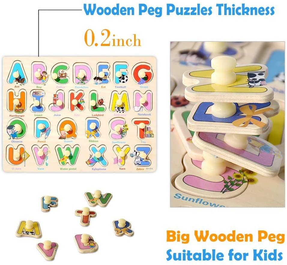Kids Wooden Peg Puzzles Set For Toddlers 2 3 4 Years Old ...