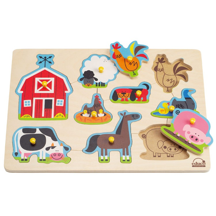 Toddler Toys Puzzle : Farm animals peg puzzle educational toys planet