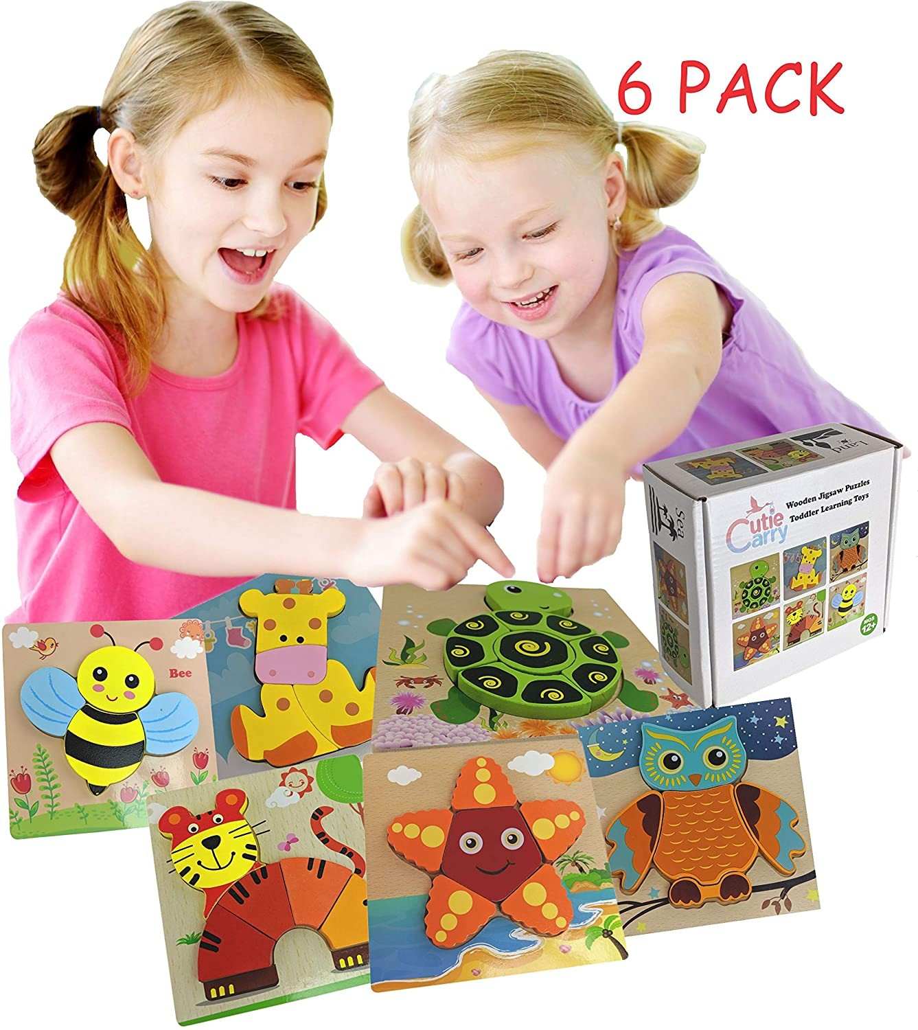 Wooden Jigsaw Puzzles Cutie Carry Animal Shape Gift Set ...