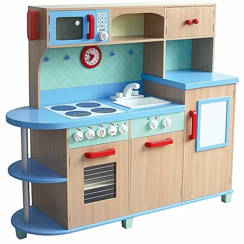 All In One Play Kitchen   Deluxe Wooden Kids Kitchen Set.