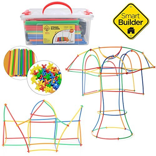 Piece STEM Straws and Connectors Building Sets with 100/% Cotton Tote Bag and Storage Box Colorful Educational Interlocking Straw Building Blocks for Boys and Girls 800//400 Orbit Education Large