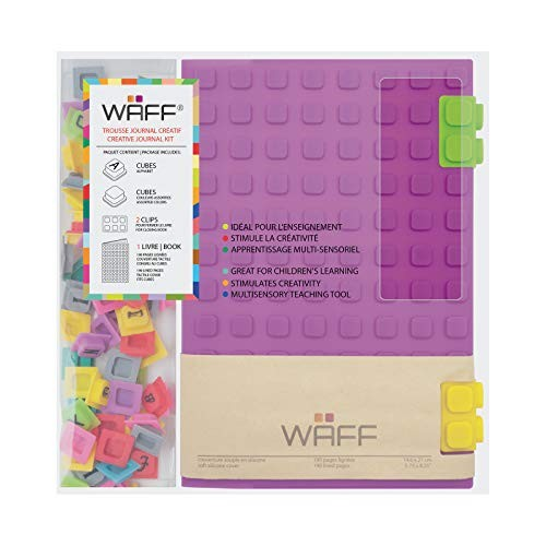 WAFF Black Soft Silicone Cube Tiles And Notebook // Journal Combo Large 8.25 x 5.5
