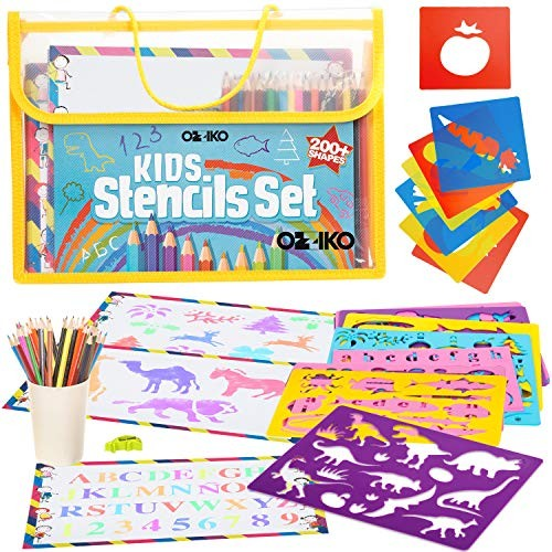 Drawing Stencils For Kids Arts And Crafts Kit Ages 4 8 Art Supplies Coloring Gift Set Boys Girls With Alphabet Letter Numbers Animal Dinosaur Stencil Shapes Educational Toys Planet
