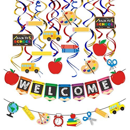 OKIRO Kids Back to School Party Decorations Welcome Banner ...