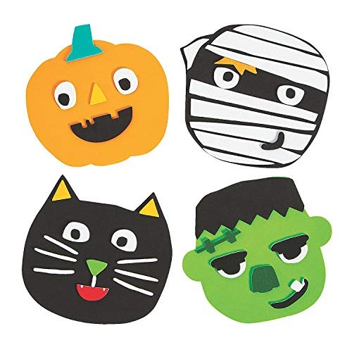 1 Spooky Black Cat Foamies Pumpkin Decorating Kit Halloween Craft Kit for Kids with Foam Stickers Bundle of 2-1 Ghost