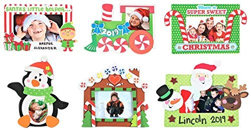 Gingerbread House Candy Cane 6 /& More! 6-8 Christmas Holidays Magnet Picture Frame Craft Kit Set Winter Kids Crafts Family Activities Six Penguin Refrigerator D/écor Bundle 6 Kits