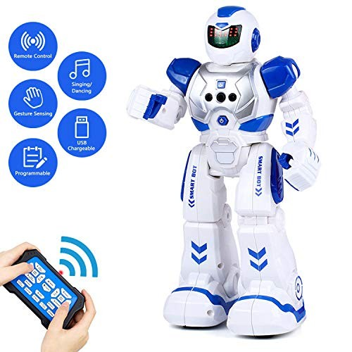 Remote Control Robot for Kids RC Intelligent Programmable Robot Smart Robot Toys with Dancing Red Best Gifts for Children Singing Gesture Sensing Robot Kit Led Eyes