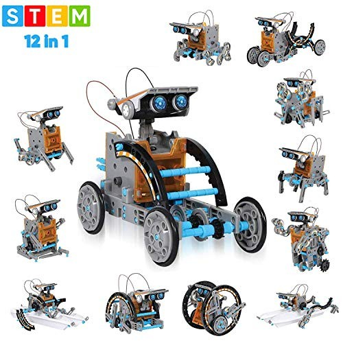Wenosda Solar Robot Toys STEM 12-in-1 Educational Building Toy DIY Science Experiment Kit 190 Pieces Coding Robots Engineering Set Powered by The Sun for Kids Boys/&Girls