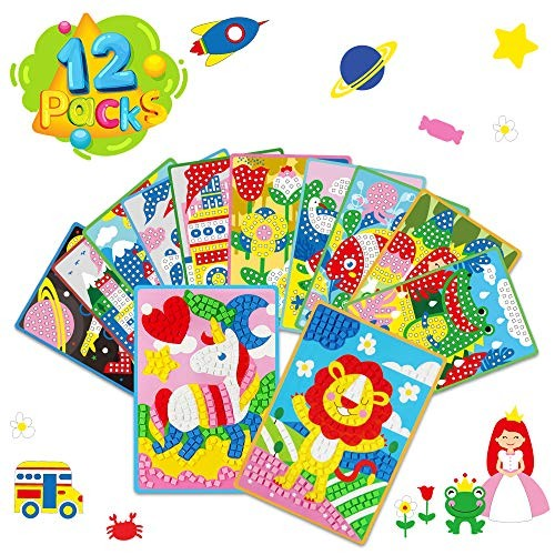 Vatos Mosaic Sticker Arts And Crafts Kits For Girls Age 3 Sticky Mosaics Diy Handmade Toys Kids Toddlers Fun Activities Postcards Foam Gifts 4 5 6 Year Old 12 Packs Princess Animals Educational Toys Planet