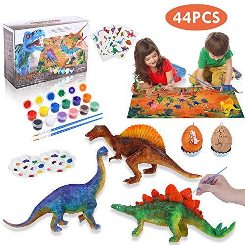 Rapify 64 PCS 3D Dinosaur Kids DIY Arts Crafts and Supplies Set Painting Kit STEM Educational Set Toys for Kids Boys Girls Age 4 5 6 7 8 Years Old Dinosaur Modeling Decorate Your Dinosaur