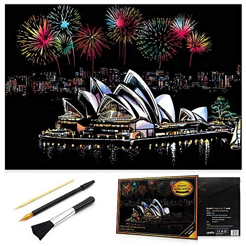 with 3 Tools Craft Art Set 16 x 11.2 Creative Gift Sketch Pad DIY Night View Scratchboard Scratch Painting Kits for Adults /& Kids Victoria harbour Rainbow Scratch Art Painting Paper