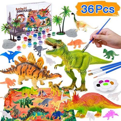 Dinosaurs Toys Art and Craft Supplies Party Favors Creativity DIY Birthday Gift Paint Your Own Dinosaur for Kids Boys Girls Age 4 5 6 7 8 Years Old Biulotter/Kids Dinosaur Painting Kit