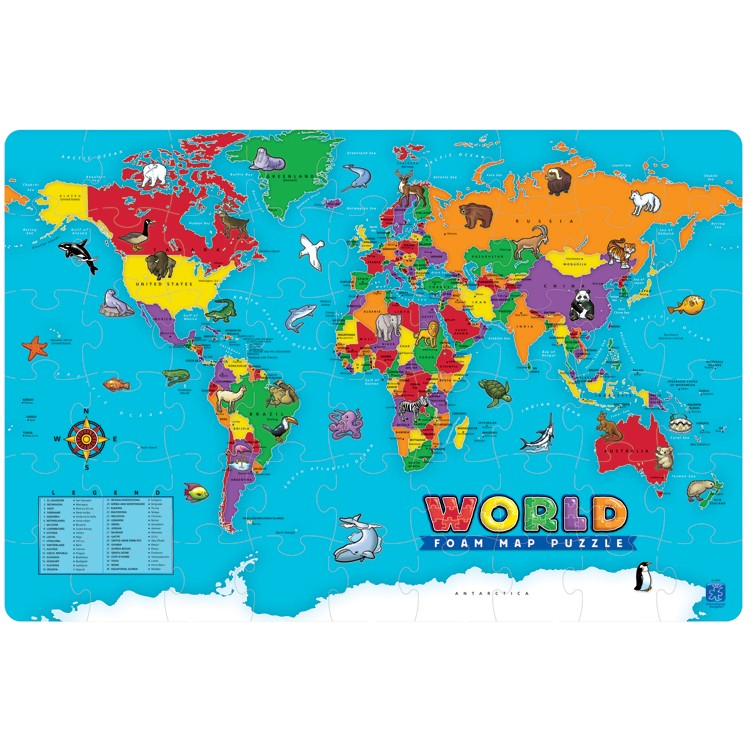 World Map Foam Puzzle Educational Toys Planet