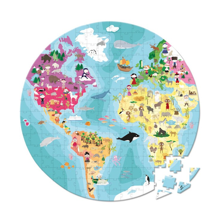 Our Planet World Map Round Double Sided Pc Puzzle - Round world map image