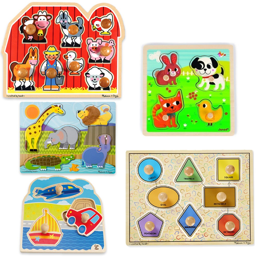 First Puzzles for Toddlers Bundle of 5 Jumbo Knob Wooden ... Wooden Toddler Puzzle