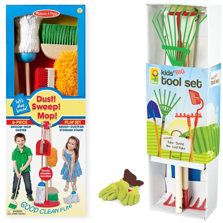 Kids Indoor U0026 Outdoor Cleanup Play Set   House Chores U0026 Garden Tools Kit  For 3 6 Years.