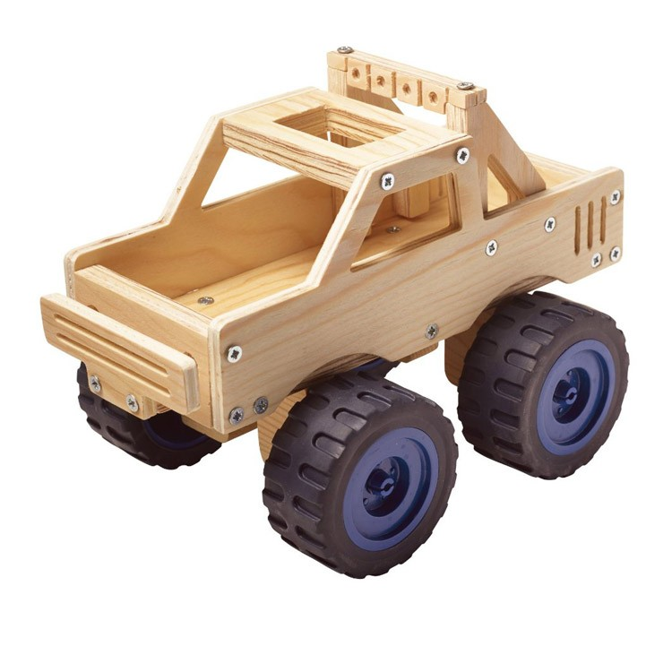 Wooden Toy Trucks For 3 Year Old : Build a monster truck kids woodcrafting kit educational