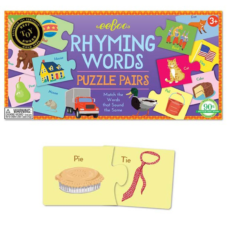 Rhyming Words Learning Puzzle Pairs Game Educational