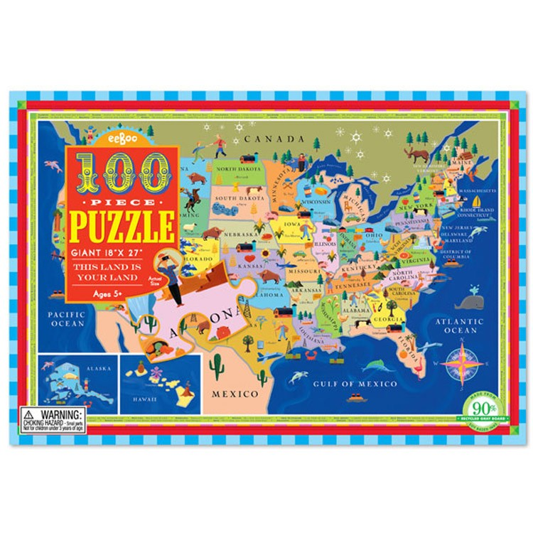 This Land Is Your Land US Map Pc Puzzle Educational Toys Planet - Puzzle us map