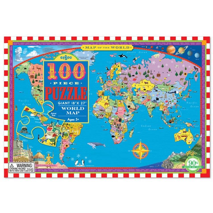 World Map 100 pc Jigsaw Puzzle Educational Toys Planet