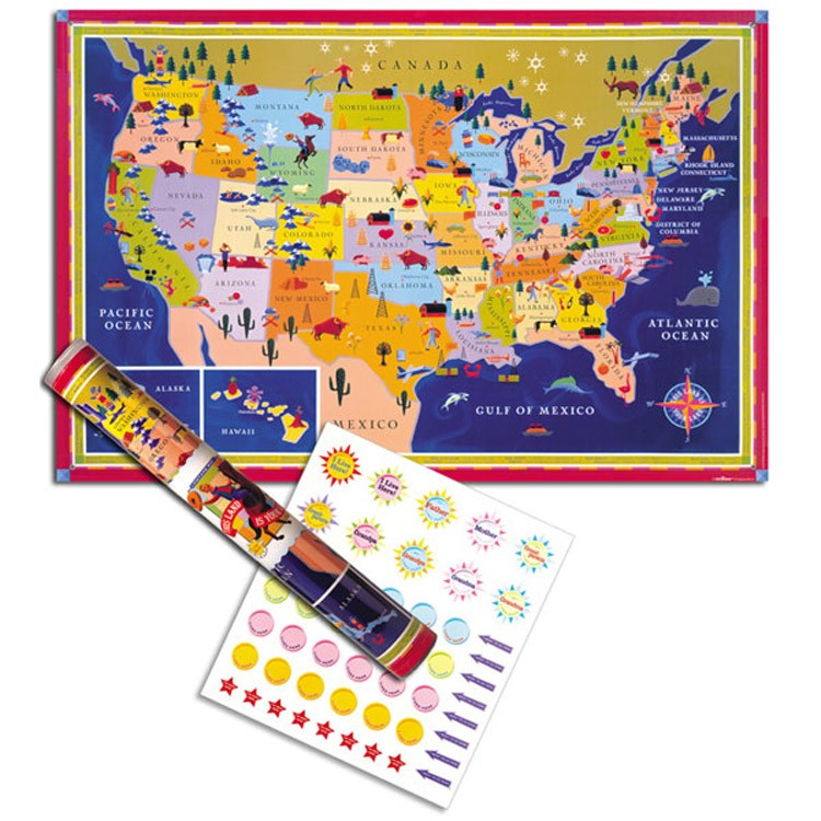USA Map Wall Poster for Kids Educational Toys Planet