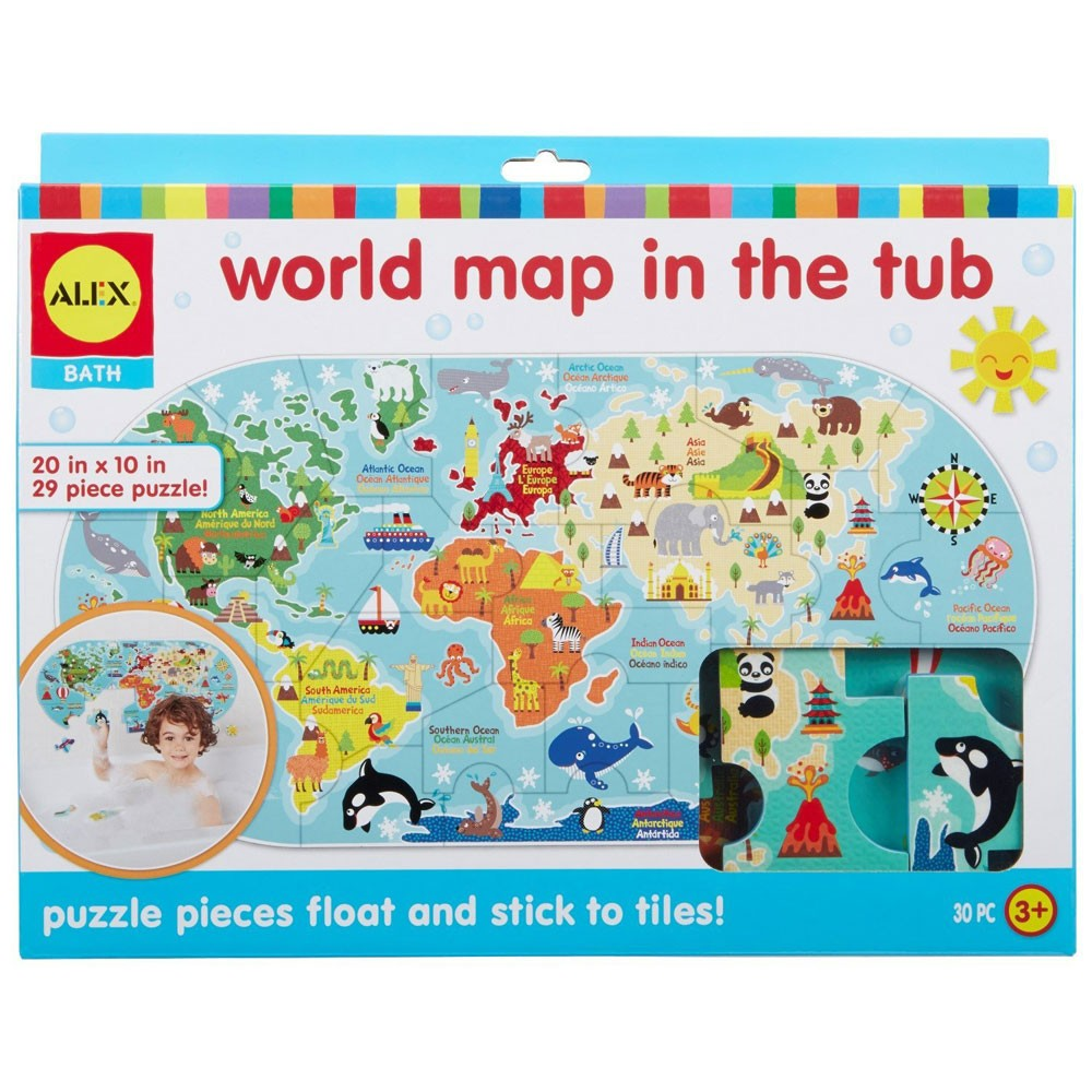 World Map in the Tub 30 pc Foam Puzzle - Educational Toys Planet
