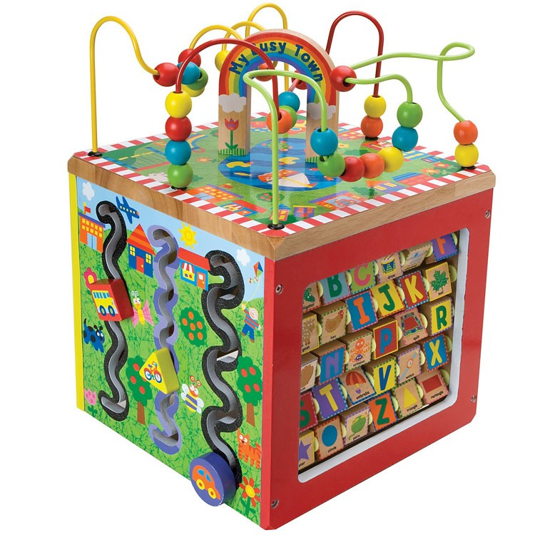 Activity Cube Toy : Busy town wooden activity cube educational toys planet