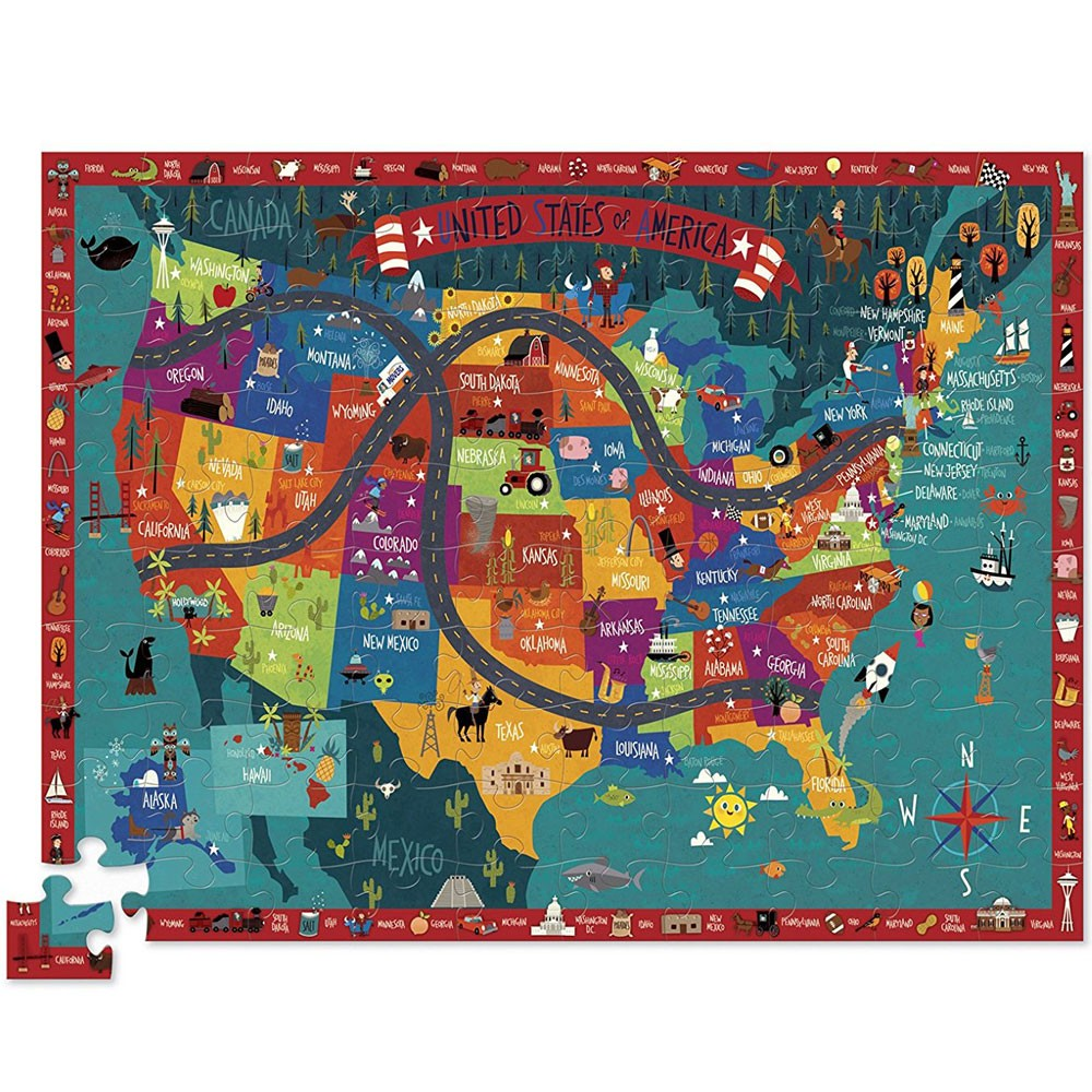Discover America 100 US Map Puzzle & Play Set - Educational Toys Planet