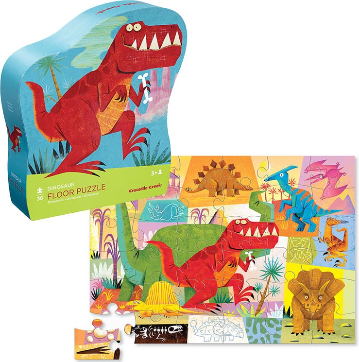 Dinosaur 36 Pc Floor Puzzle In Shaped Box Educational