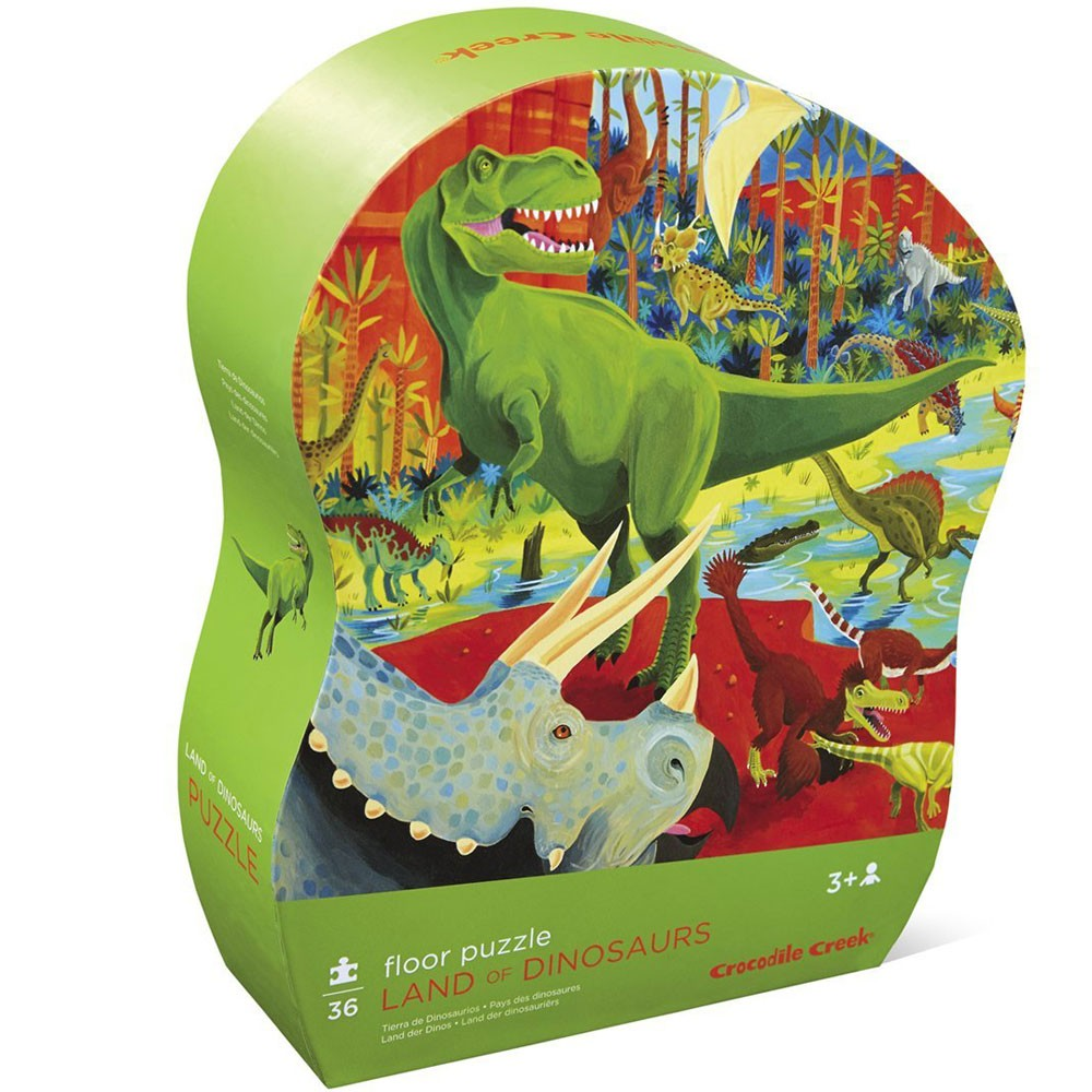 Dinosaurs Mdf Toy Box Childrens Storage Toys Games Books: Land Of Dinosaurs 36 Pc Puzzle In Shaped Gift Box