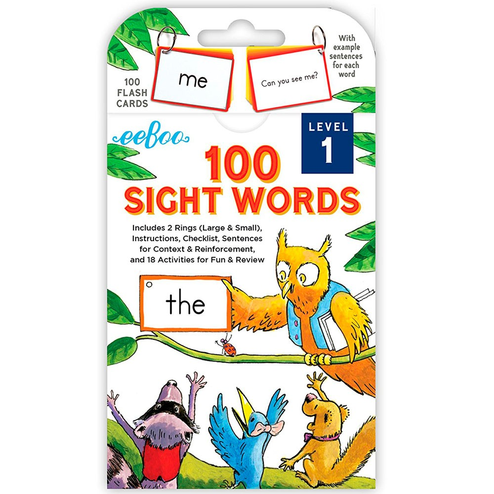 100 Sight Words Flash Cards Level 1 Educational Toys Planet