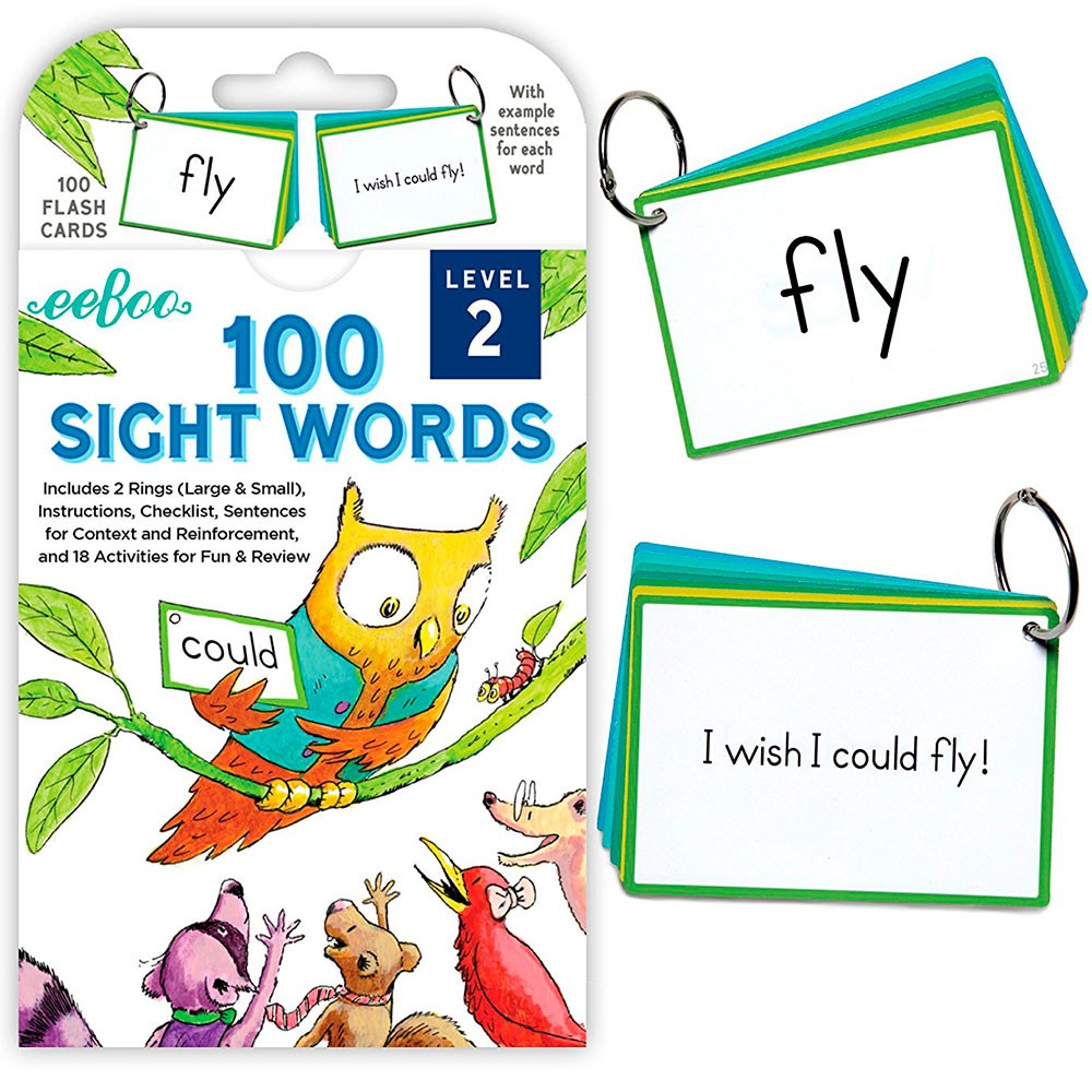 100 Sight Words Flash Cards Level 2 Educational Toys Planet