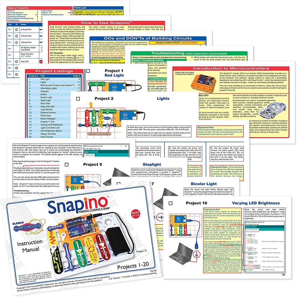 Snap Circuits Snapino Coding Electronic Projects Kit Educational Circuit Electronics