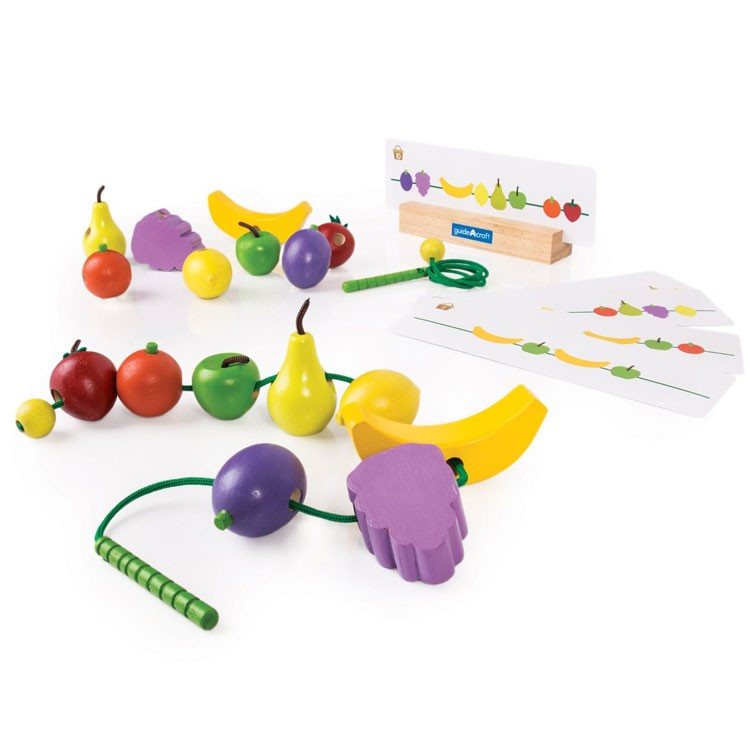 Preschool Manipulative Toys : Count and lace fruit preschool learning toy educational