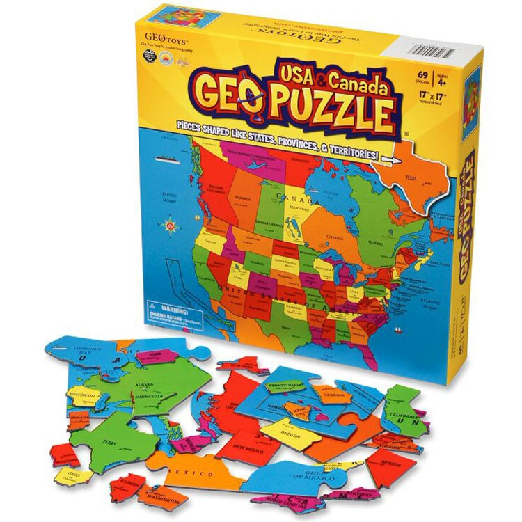 Geo Puzzle USA Canada Pc Map Puzzle Educational Toys Planet - Puzzle us map