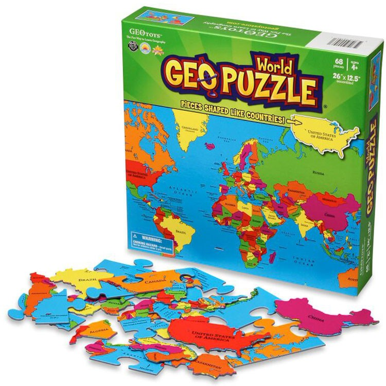 Geo Puzzle World  68 pc Map Puzzle  Educational Toys Planet