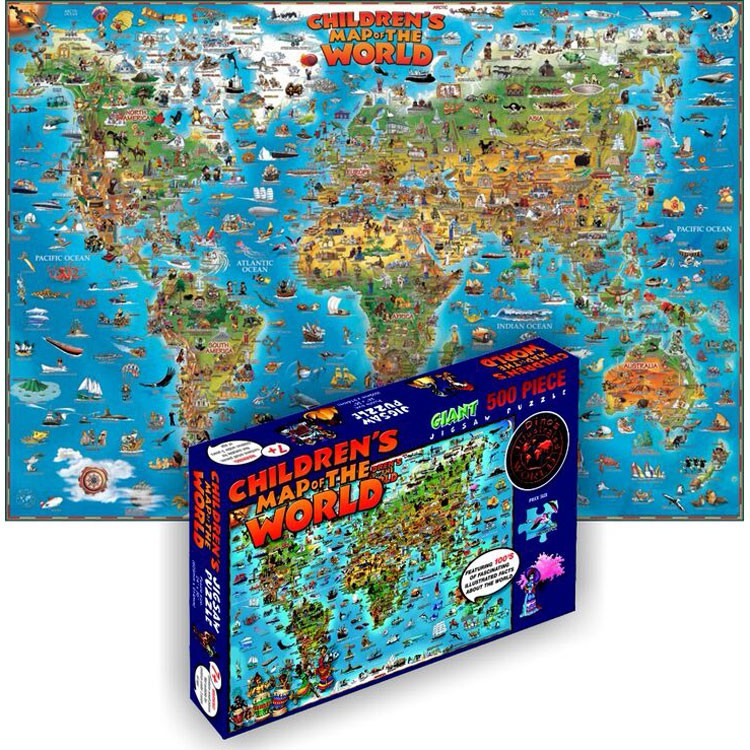 Children map of the world 500 pc illustrated puzzle educational children map of the world 500 pc illustrated puzzle gumiabroncs Image collections