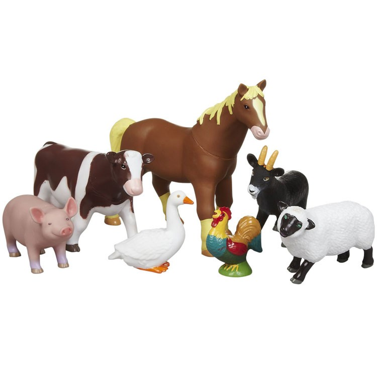 Jumbo Farm Animals 7 Pc Figurines Playset Educational