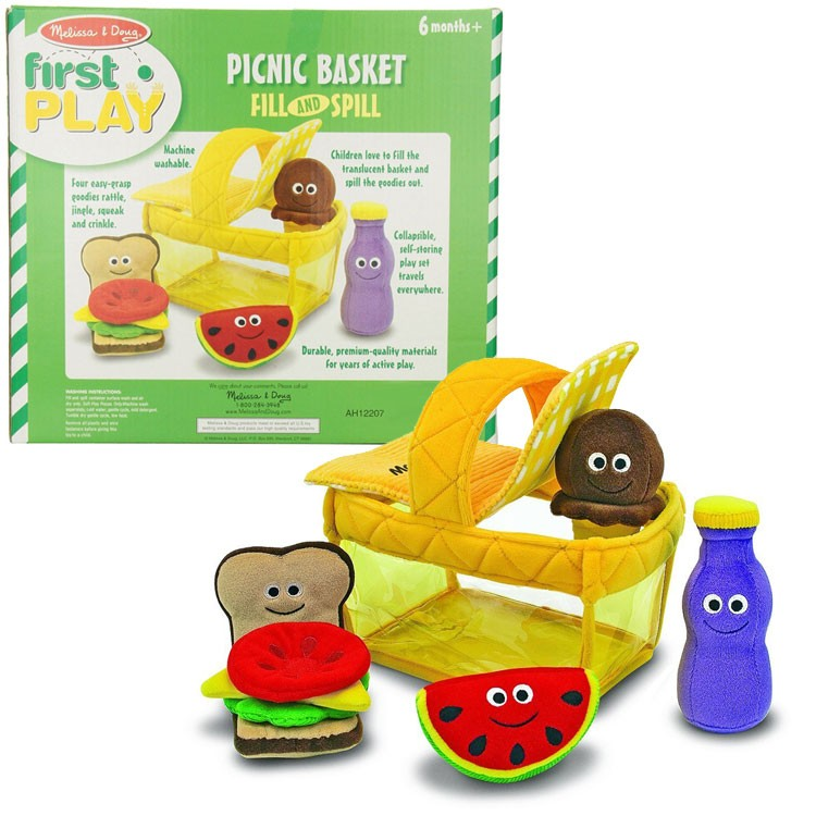 Toy Picnic Basket : Picnic basket fill and spill soft toy food play set