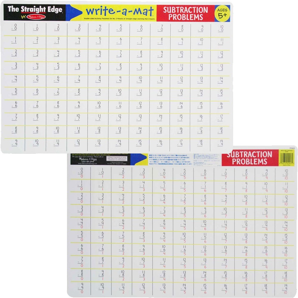 Subtraction Write On Learning Placemat Educational Toys