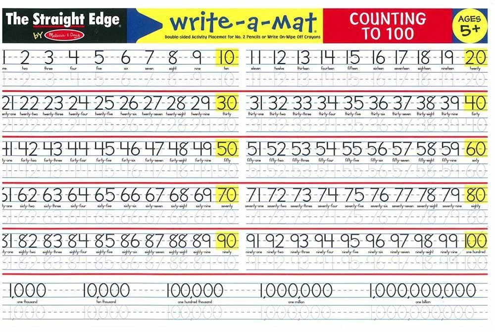 Counting 1 100 Write On Learning Placemat Educational