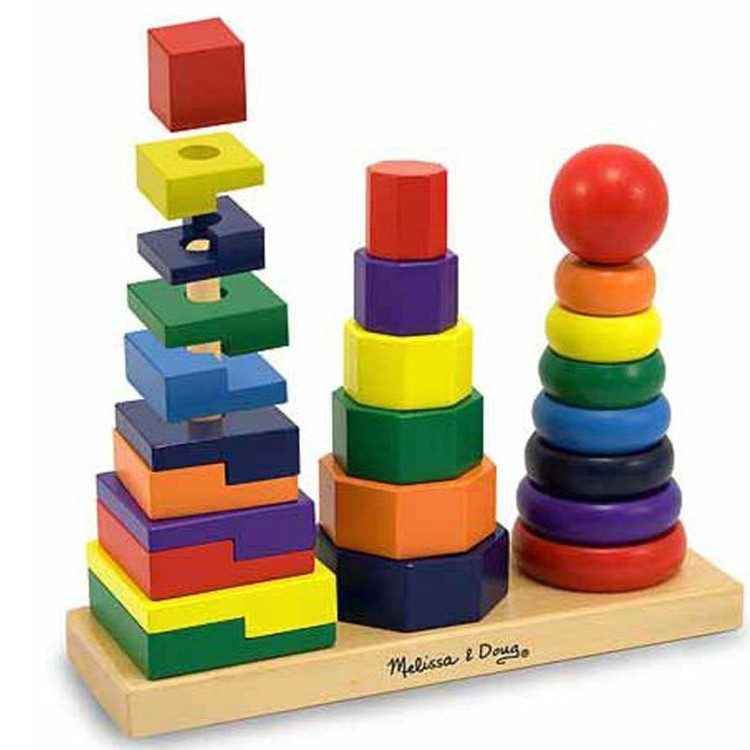 Kids Stacking Toys : Geometric stacker wooden stacking toy educational toys